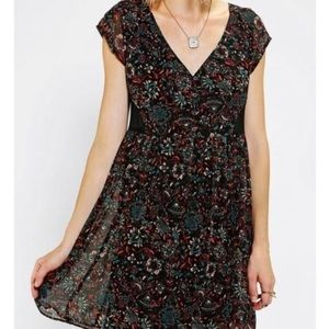 Ecote black floral mesh Fit out sheer mini dress